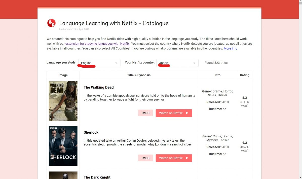 「Language you Study」をEnglishに、「Your Netflix countr」をJapanに設定